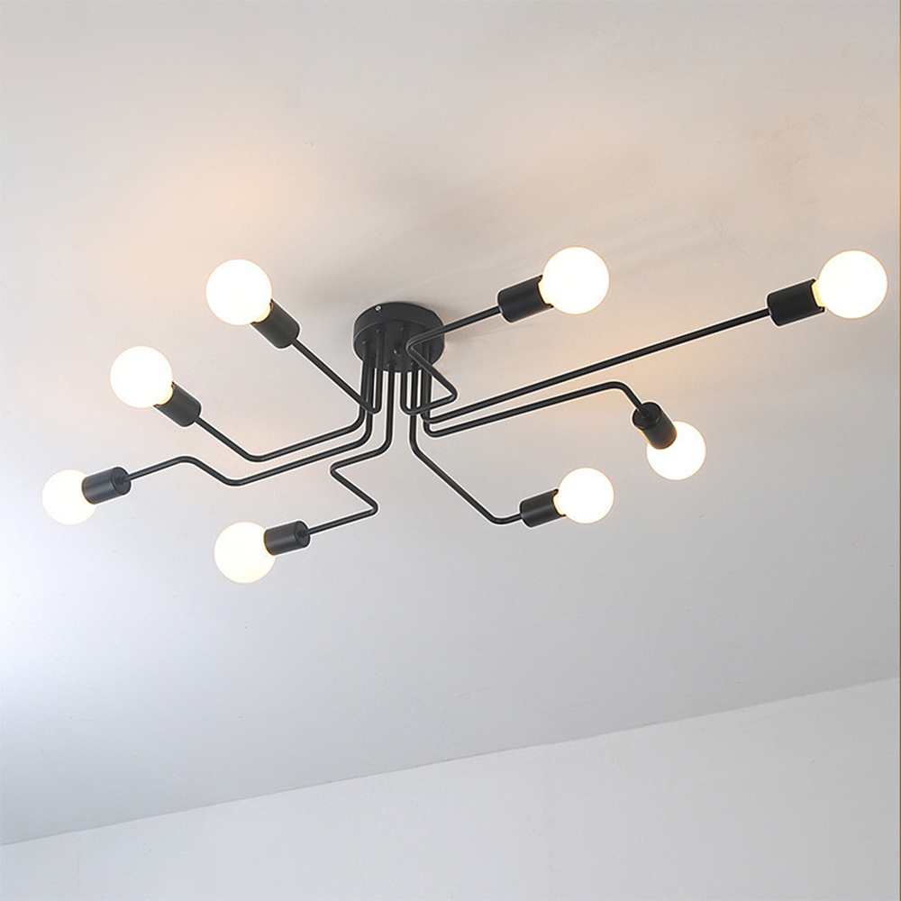 110V 220V E27 Led Wrought iron 4/6/8 heads Multiple rod ceiling dome lamp creative retro nostalgia cafe bar ceiling light vintage american variety e27 iron ceiling dome lamp creative personality retro nostalgia cafe bar industrial ceiling light