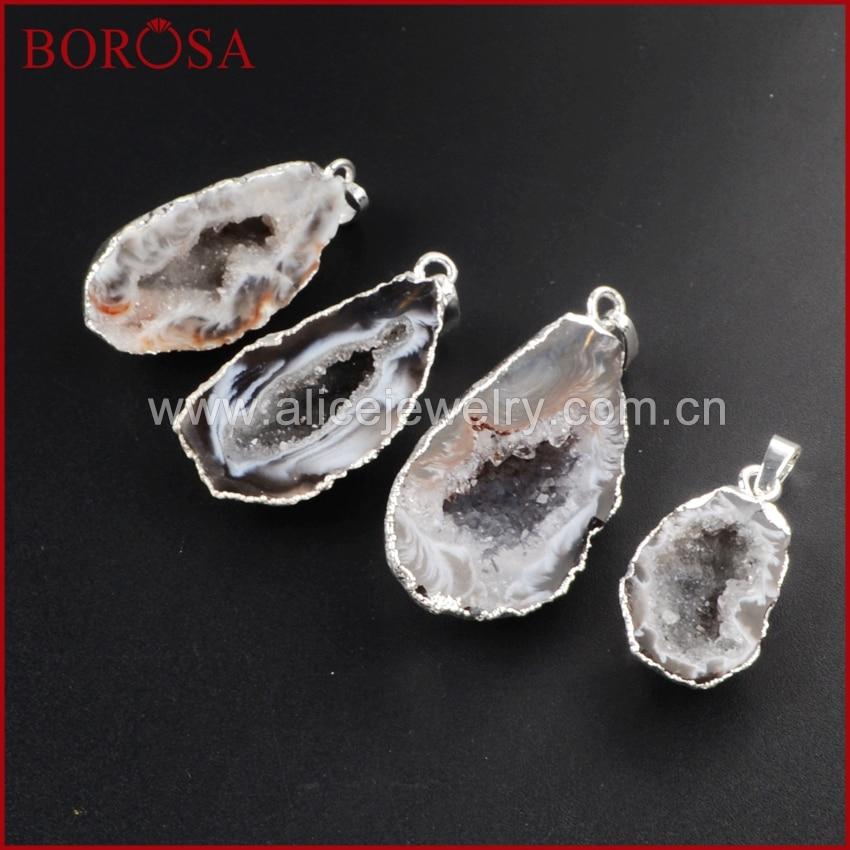 BOROSA 10pcs Drusy Pendant Silver Gold Color Natural Half Cave Onyx Druzy Geode Pendant Bead Brazilian