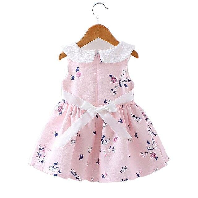 9db82e1230021 Fleur Imprimé Bébé Petites Filles Arcs Robe Enfants Fête D anniversaire  Princesse Robe Rose Pourpre