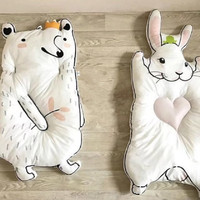Cartoon Animals Rabbit Raccoon Shape Quilted Play Mats Baby Crawling Carpet Kids Blanket Pad Child Bed