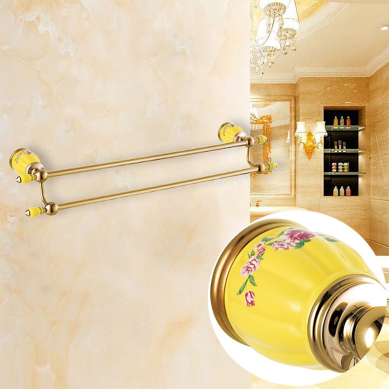 High Quality Gold wall mounted 24 inch Double Towel Bar Brass & porcelain Towel Holder Bathroom Towel Rack Bathroom accessories wall mount artistic double towel bar antique brass bathroom good quality dual bar towel holder