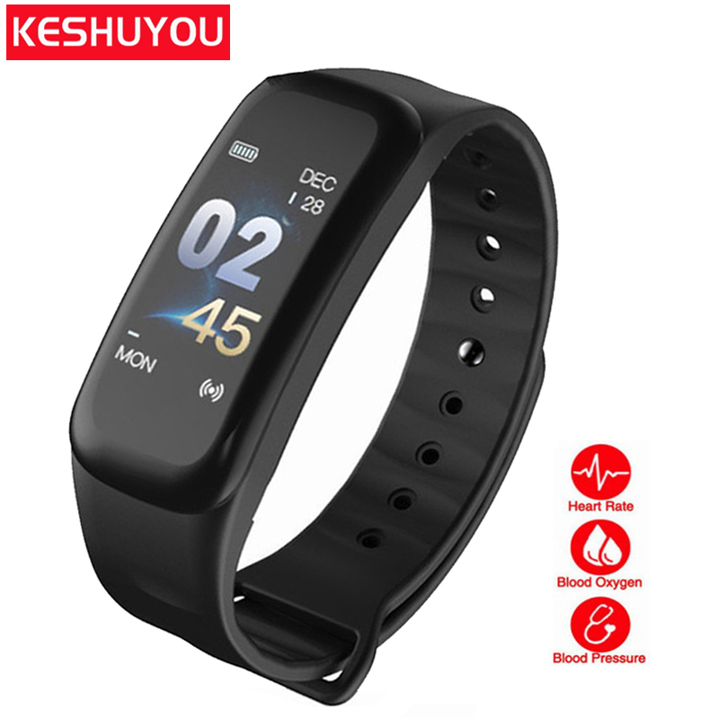 KESHUYOU C1S bluetooth fitness tracker watch heart rate monitor sleep tracker Passometer smart band blood pressure ios android цена
