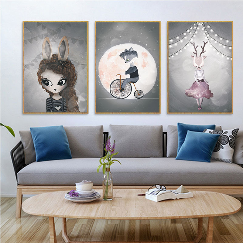 >RuoGuan Nordic <font><b>Watercolor</b></font> Cartoon unicorn Rabbit Girl Boy <font><b>Animal</b></font> Poster Canvas Painting Wall Picture Kids Room <font><b>home</b></font> decor SH-861