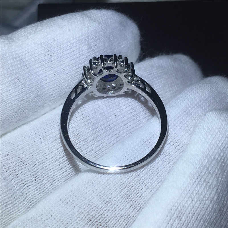 Vecalon joyería fina anillo de Plata de Ley 925 100% auténtica 5A Zircon azul Cz Diana anillos de compromiso de la banda de la boda para las mujeres nupciales