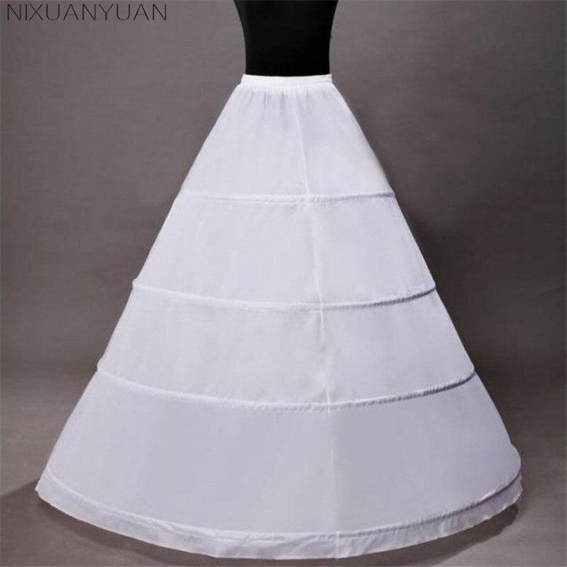 NIXUANYUAN 2020 Wholesale Hot Sale 4 Hoops Bridal Petticoats White Cheap Wedding Ball Gowns Petticoat Crinoline