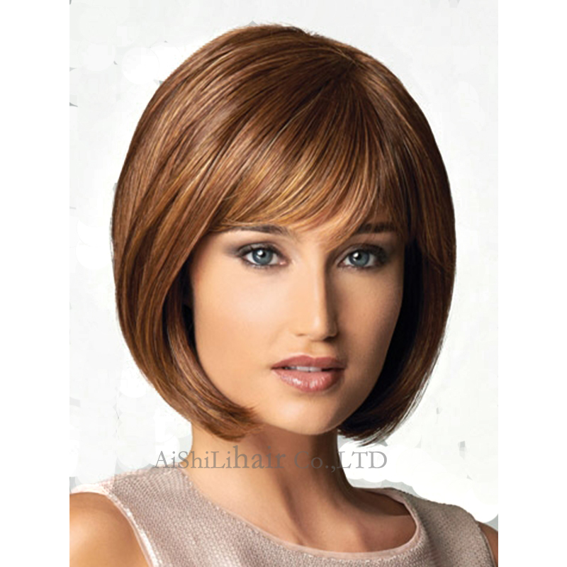 Short Natural Hair wigs silk Straight Bob style short for black women ombre Brown Pixie cut synthetic hair wig