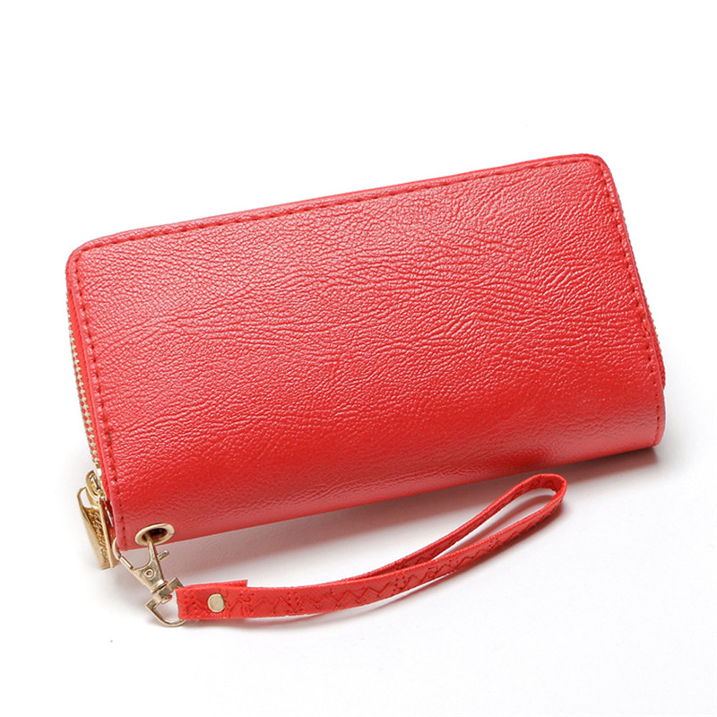 цена на Fashion Women Litchi Pattern Road Wallet Double Zipper Coin Bag High Quality Leather Coin Purse Phone Money Bag