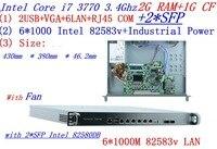 工業用1uファイアウォールサーバルータ2グラムラム1グラムcf 6*1000メートルインテル82583ボルトギガビットで2 * sfp i7 3770 3.4 ghzはmikrotik pfsense ros