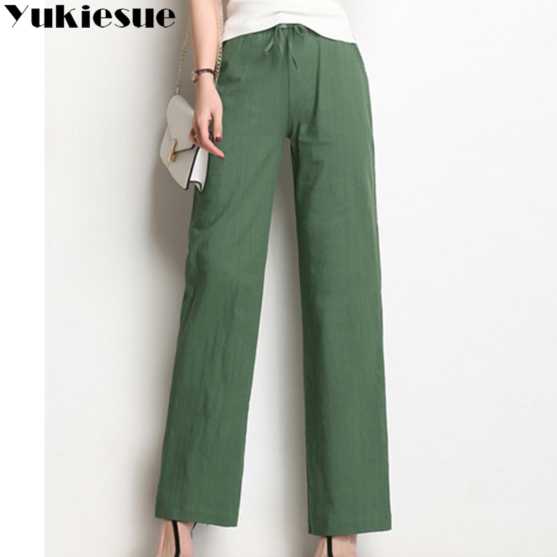 Wide     leg     pants   capris women 2018 summer loose high elastic waist drawstring casual straight long   pants   female trousers Plus size