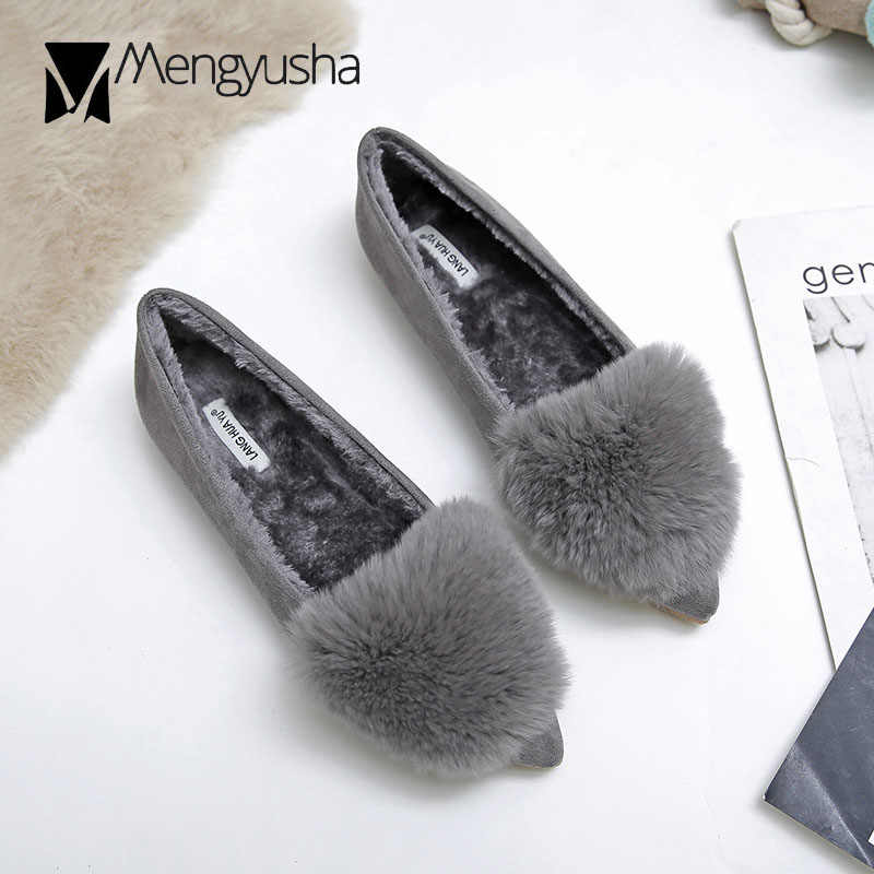 rabbit fur decoration flat shoes woman pointed toe flock winter shoes with plush ladies mules shoes fur flats women loafers c847