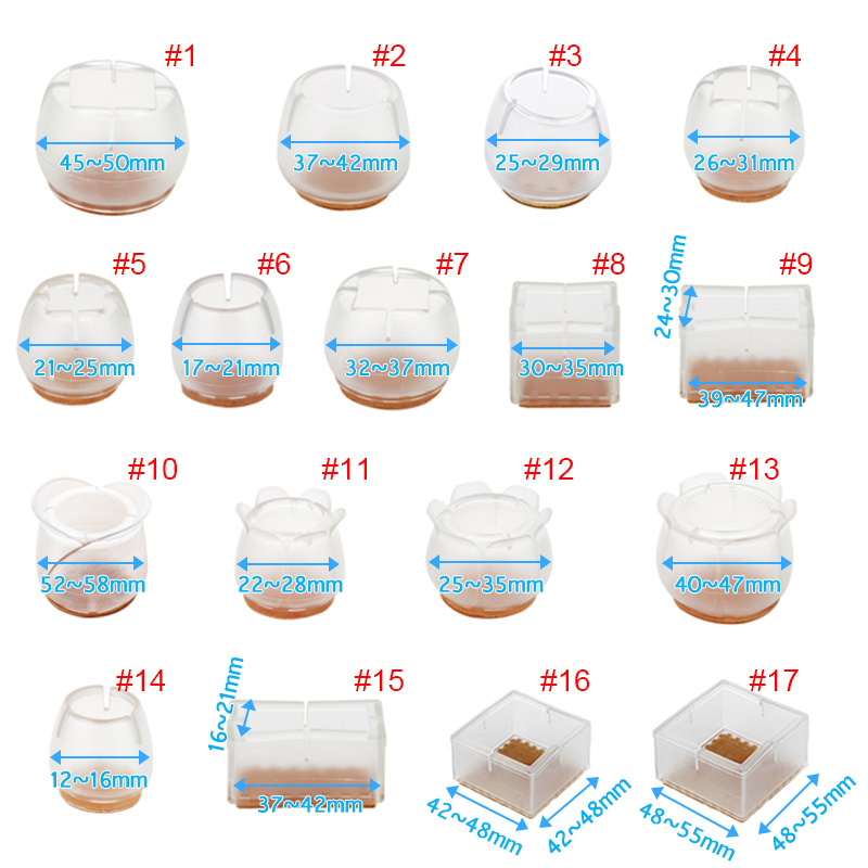12Pcs Chair Leg Caps Assorted Round Square Rectangle Silicone Floor Protector Furniture Table Feet Covers