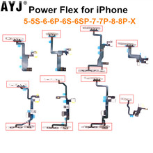 1 Piece Power Flex Cable with Metal For iPhone 5 5S SE 6 6S 7 8 Plus X Volume Switch On Off Button Spare Part Replacement