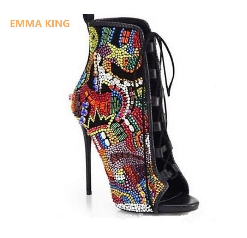 Emma King Стразы, дизайнерские туфли на высоком каблуке; Летние босоножки; Для женщин С кристалалми и стразами женские туфли лодочки передний открытый с перекрестными ремешками, на высоком каблуке