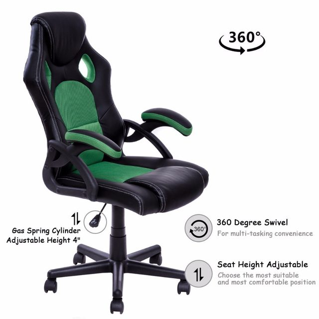 Goplus PU Leather Gaming Chair Executive Bucket Seat Racing Style Office Chair Modern Computer Desk Task Swivel Chairs HW53001  sc 1 st  Aliexpress & Online Shop Goplus PU Leather Gaming Chair Executive Bucket Seat ...