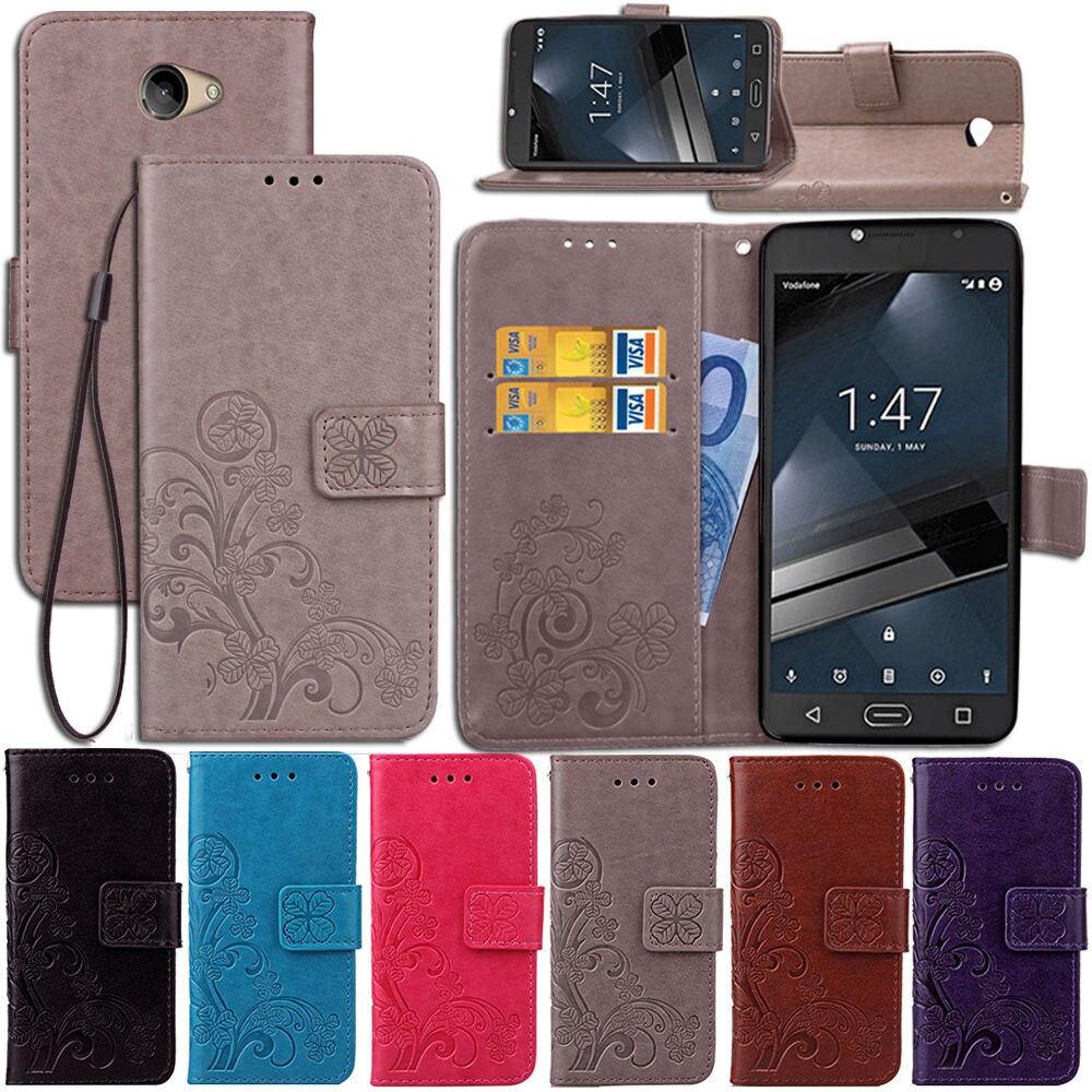 VFD700 Sculpture Emboss Leather Case for Vodafone Smart Ultra 7 Cover Flip Stand Card Slot Wallet Cases Black Covers 700 VF700 visa