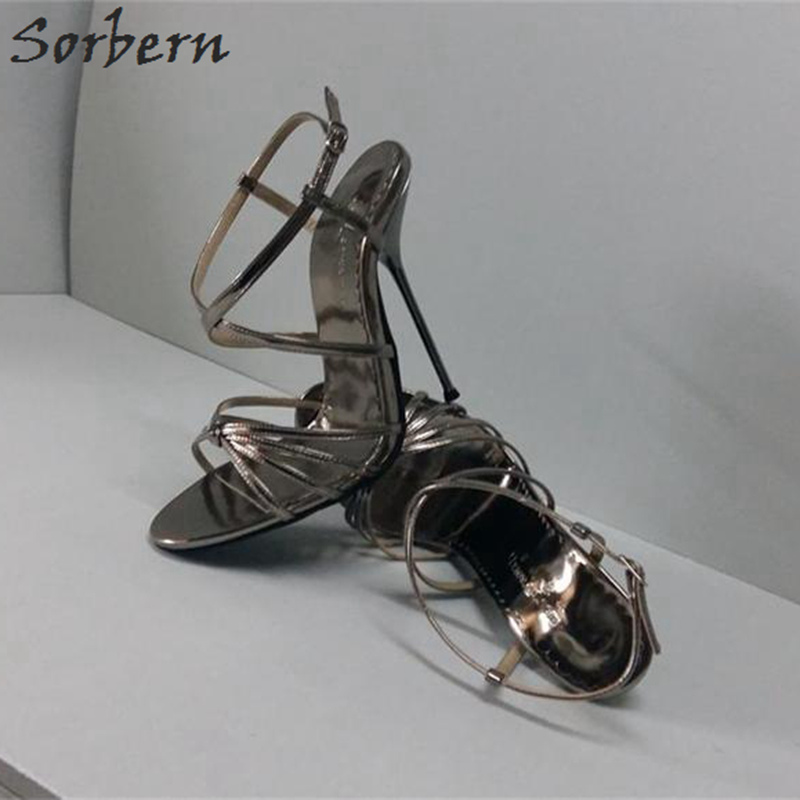 цена на Sorbern Shiny Grey Thin Metal High Heel 14Cm Cross Straps Sandals Women Custom Red Bottoms Stilettos Womans Shoes Size 33-52