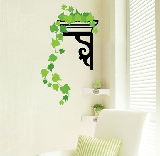 Free Shipping Transparent Green Vine Removable Wall Stickers Parlor Kids Bedroom Home Decor House TC991