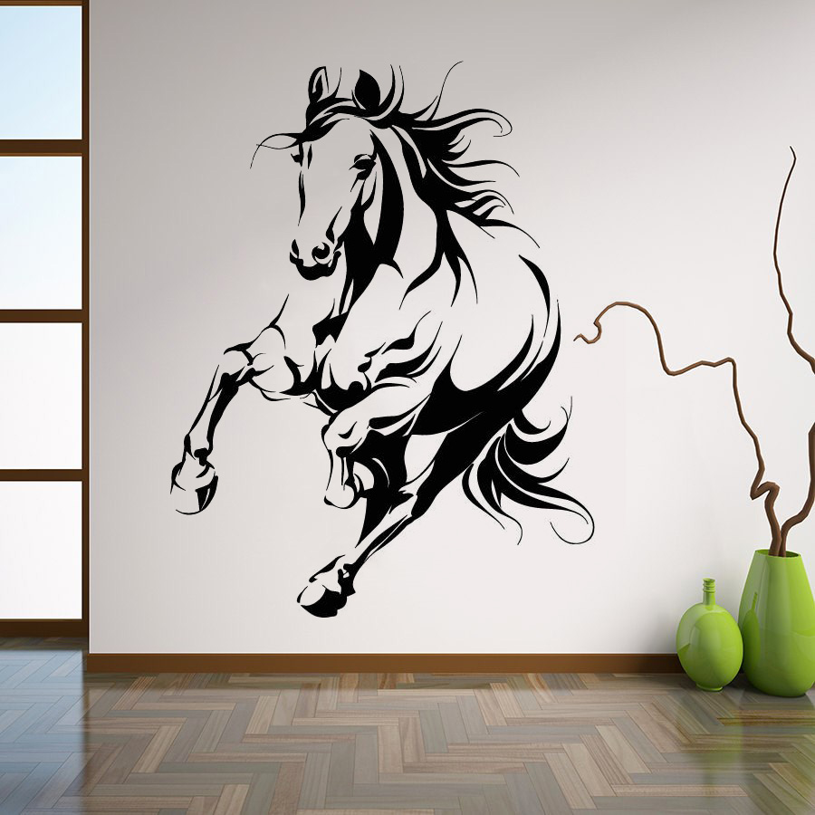 Art  Wall Sticker Beautiful Horse Decoration Tribal Animals Poster Vinyl Art Removeable Mural Modern Decal Mostang Sticker LY141