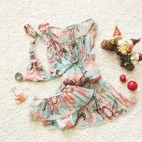 Hot Girls Floral Print 3 Piece Swimsuit Cute 3pcs/Set Bikinis Set Cover Ups Suit Skirt Type Halter Child Kids Swimwear Beachwear