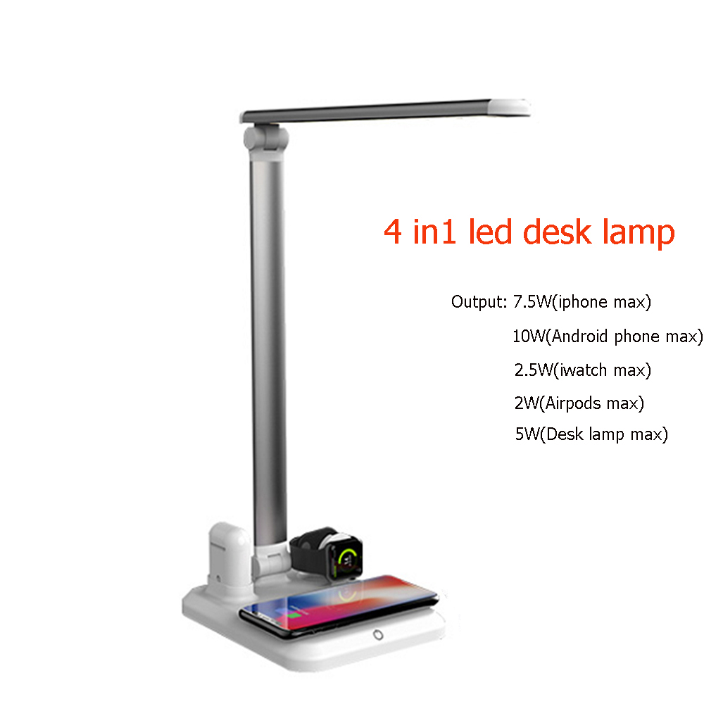 4 In1 Wireless Charger Led Desk Lamp Luminaria Multifunction Led Table Lamp 5W Touch Table Lamp