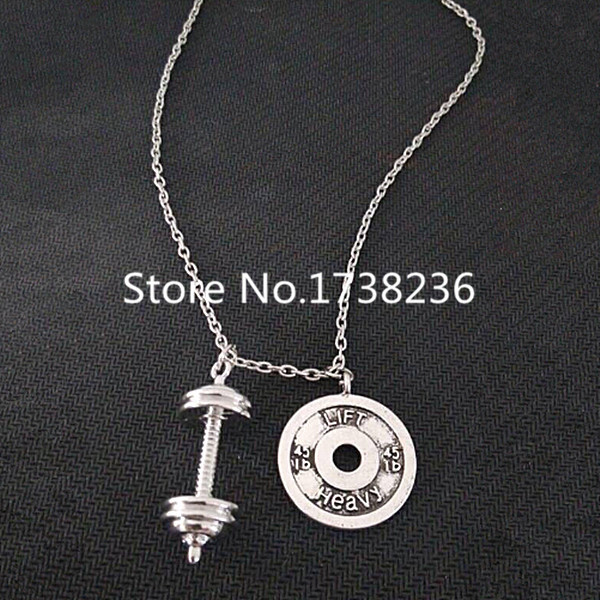 plate weight gym barbell dumbbell necklace pendant button sports