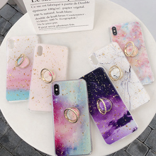 Gold Foil Bling Marble Phone Case For iPhone XR XS Max X Finger Ring Kickstand Cover Case For iPhone 6s 7 8 Plus Shell Bag Coque mercury goospery i jelly finger ring kickstand tpu shell for iphone 7 plus 5 5 red