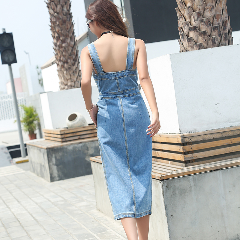 Élégance Nouvelle Col Poches Denim Robes De Slim Droite 2018 Blue D'été Arrivée Mode Style Bouton Coréen Chaude D85505l Carré Femmes BrodeWCx