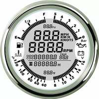 White Dashboard GPS speedometers Fuel Oil pressure meters Volt meter Water temp meters 6 in 1 gauges fit for Auto Boat Gauges