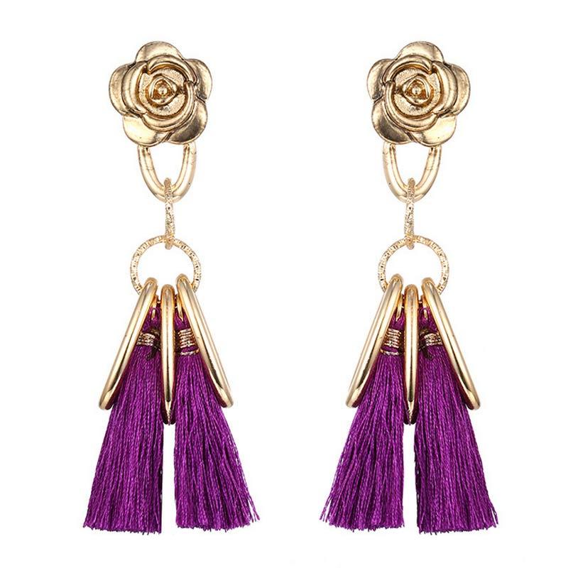 573e033be14 Multi Colors Retro Long Flower Tassel Drop Earrings Vintage Gold Color  Alloy for Women Brincos Statement Fashion Para Mulheres