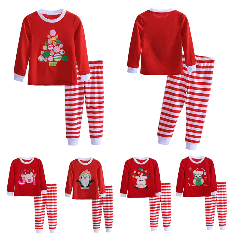 2-7 Years Christmas Kids Pajamas Set Long Sleeve Santa Claus Tops+Striped Pant Children 2PCS Nightwear Toddler Sleeping Clothes