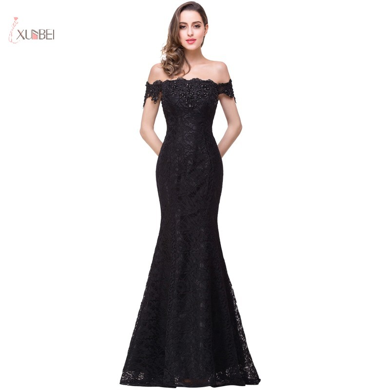 2019 Elegant Floor Length Black Mermaid   Cocktail     Dresses   Off The Shoulder Sleeveless Lace Party Gown robe   cocktail