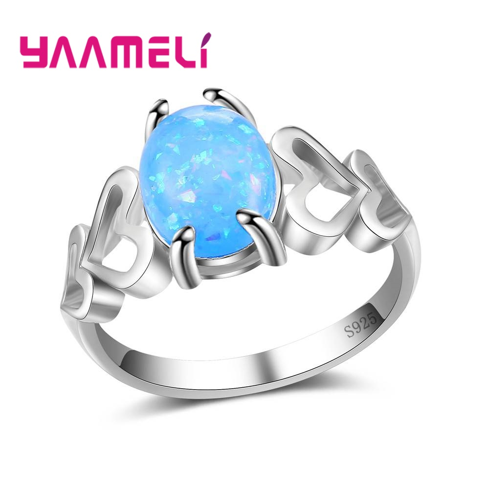 YAAMELI Pink/Biue Stone Accessories For Ladies 925 Sterling Silver Finger Rings Wonderful Super Women Birthday Gift Wholesale
