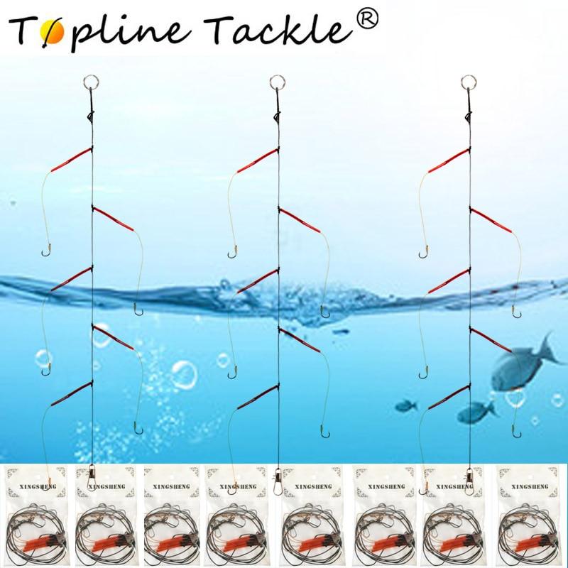 Anzuelos de acero inoxidable aparejos de Pesca giratorios señuelos Pesca cebos gancho de una cuerda Japón con 5 ganchos pequeños