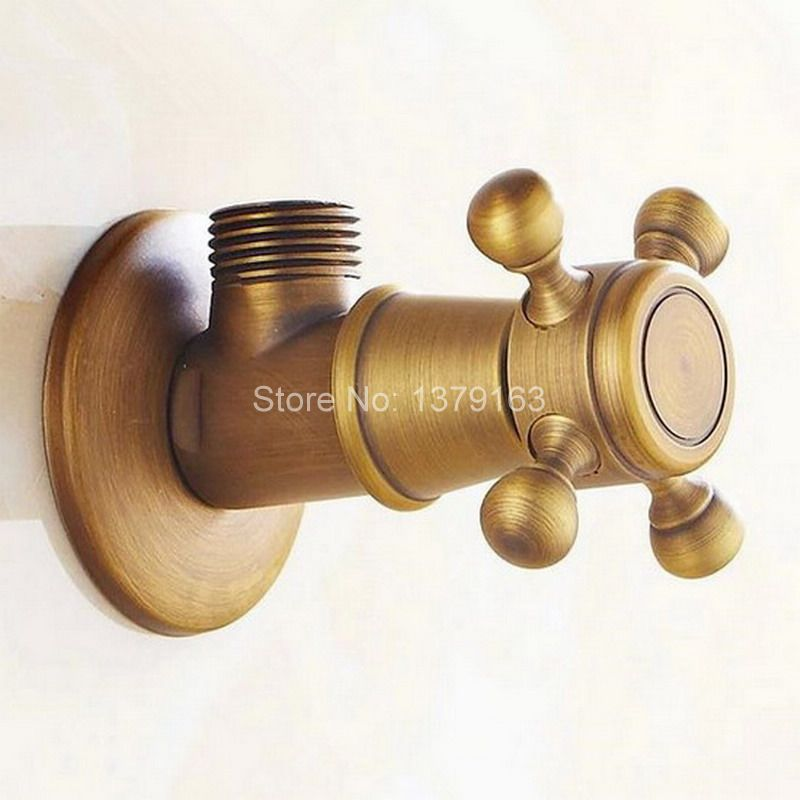 1pcs Antique Brass Bathroom Faucet Angle Stop Valve 1 2 Male Bathroom Accessory Aav004 In