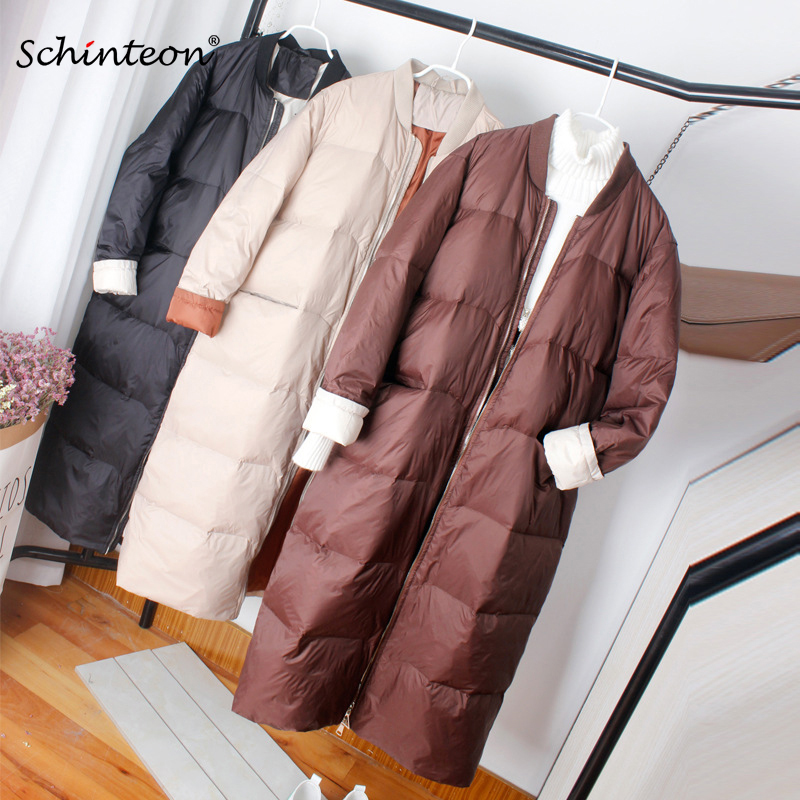 Schinteon New Korean Style Baseball Down Jacket Coat Loose Winter Long Outwear 90% White Duck Down Coat Over Size Short Sleeve