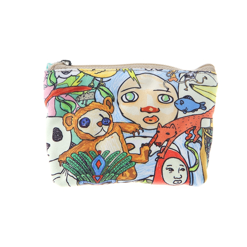 2017 Fashion Women Girls Cute Zip Canvas Coin Purse Cartoon Mini Wallet Bag Coin Purse Change Pouch Key Card Holder New Small
