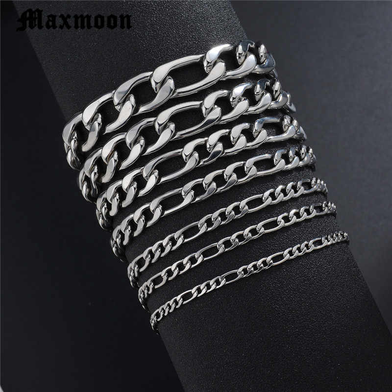Maxmoon Bracelets For Men Women 3/5/7/9/11mm Silver Stainless Steel Curb Cuban Link Chain Bracelets Party Jewelry Gift