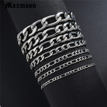 Maxmoon Bracelets For Men Women 3/5/7/9/11mm Silver Stainless Steel Curb Cuban Link Chain Bracelets Party Jewelry Gift(China)