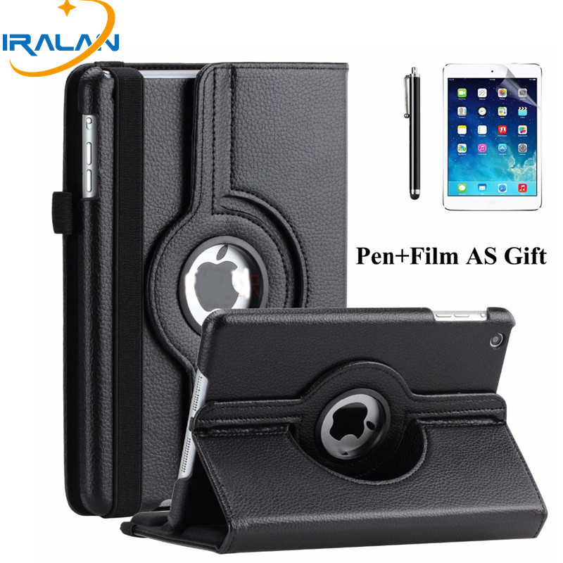 luxury 360 Rotating Stand Flip PU Leather Case For Apple iPad tablet Protective Cover For iPad Mini 123 7.9 inch shell+pen+film slim case for apple ipad air air2 ipad 5 6 smart cover cowboy pu leather soft silicone folio stand protective shell film pen