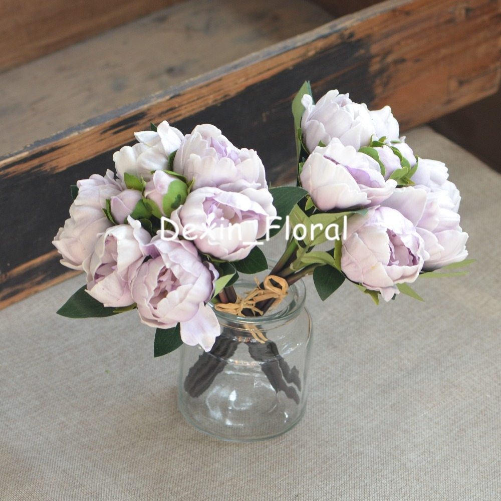2 Bundles Lilac Peonies Real Touch Peonies For DIY Wedding Bouquets ...