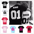 2017 Valentine t shirts Woman O-neck Cotton King Queen 01 Funny Letter Print Couples Leisure T-shirt men Short Sleeve T-shirt