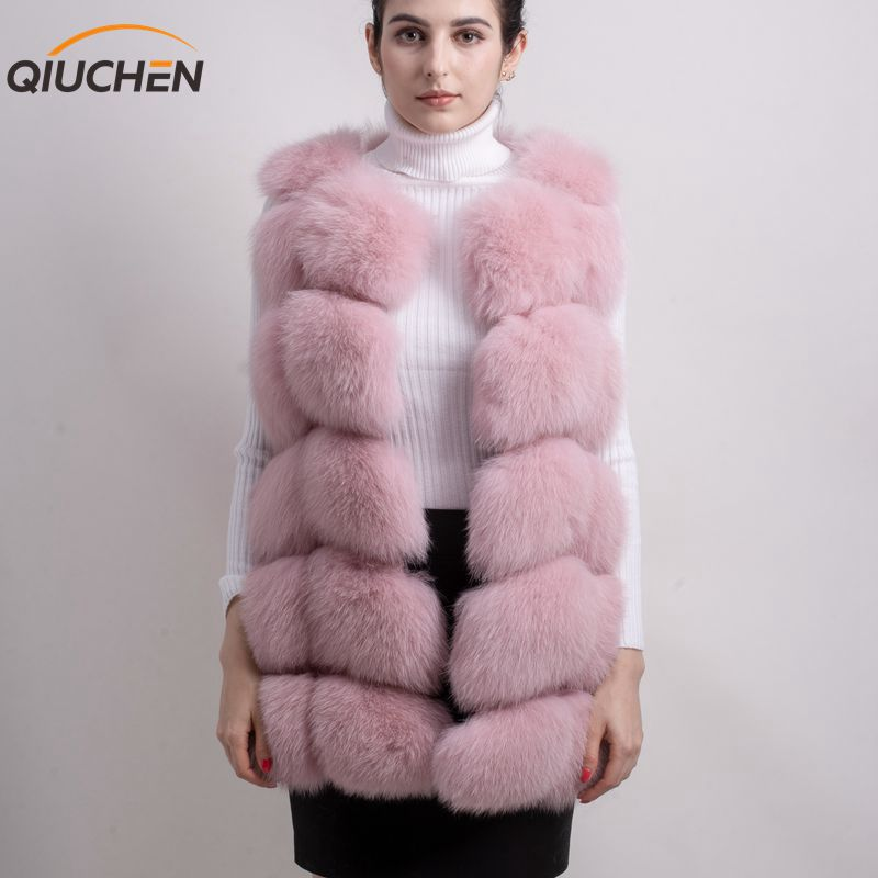 QIUCHEN 2018 New Arrivals Freeshipping Hot Sale Natural Fox Fur Long Vest Real Gilet Winter High