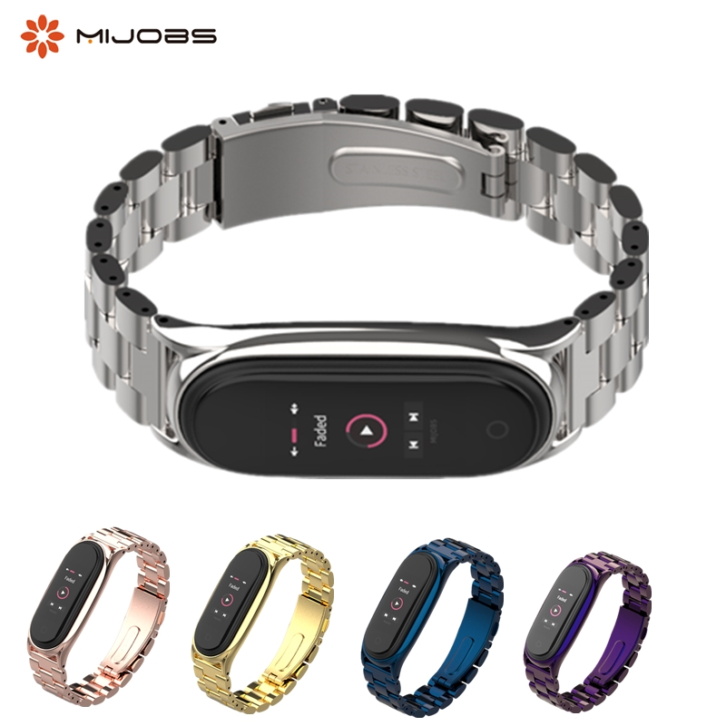 Bracelet Mi Band 4 3 Strap Metal Stainless Steel For Xiaomi Mi Band 3 4 Strap Compatible Miband 3 4 Wristbands Pulseira Miband4