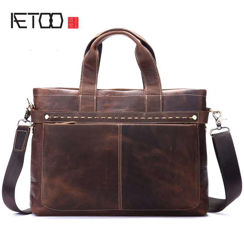 AETOO Leather men bag wholesale leisure fashion postman handbag briefcase shoulder oblique tide bag frenzy fashion men s single shoulder bag leisure portable oblique satchel tide restoring ancient ways crazy horse leather laptop pu