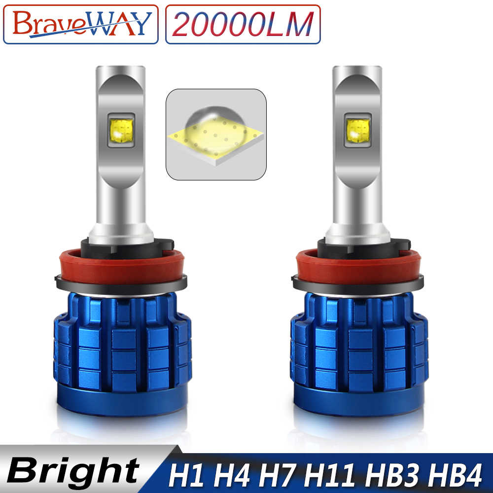 BraveWay Car LED Lights H1 LED Bulb for Auto H4 H8 H9 H11 HB3 HB4 9005 9006 H7 LED Canbus Headlights H4 12V Lamps 20000LM 6500K