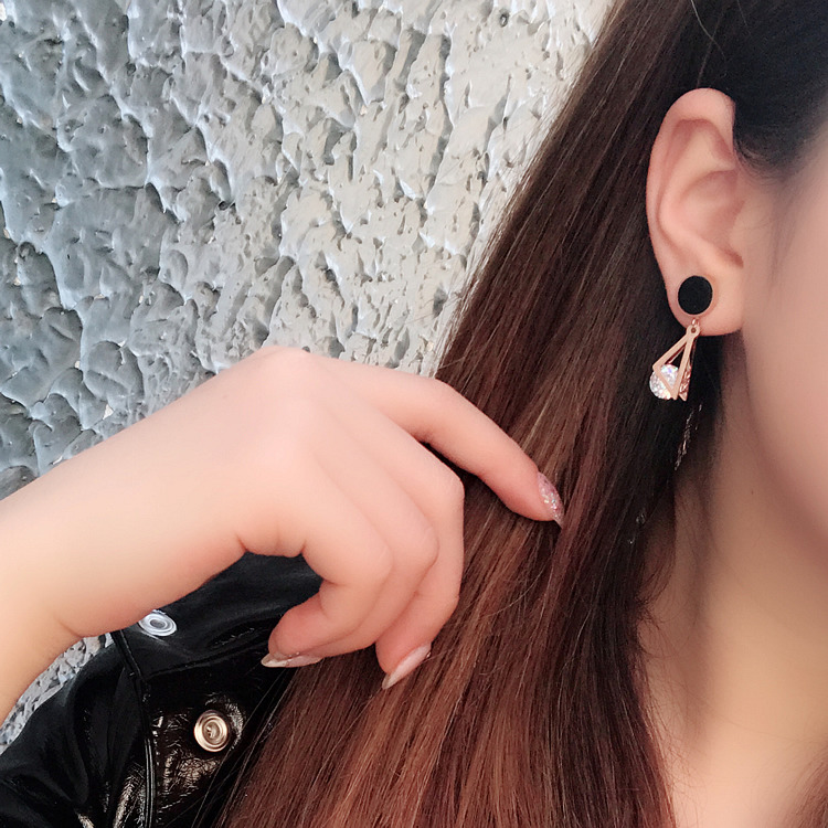 New Triangle Titanium Steel Earrings For Women Stainless Steel Earrings Jewelry Rose Gold Color Fashion Jewelery