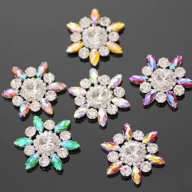1pcs 50mm Colorful Flower Shape Sew On Rhinestone With Claw Setting Silver  Back Fancy Stone Rhinestone applique For Dress 34d4a1b07781