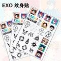 KPOP EXO Luhan Lay NX ATO Baekhyun Kai Suho Fazer Xiumin Chanyeol SehunTattoo colar impermeável Adesivos Decalques NOTA de PAPEL 1 folha/comprar