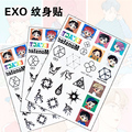 KPOP EXO NX ACT Luhan Lay Baekhyun Chanyeol Suho Do Xiumin Kai SehunTattoo paste waterproof Sticker Decals NOTE PAPER 1sheet/buy