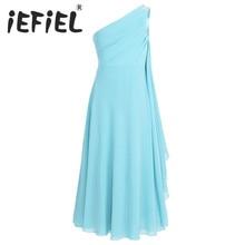 IEFiEL ילדי פרח בנות שמלת ילדים נסיכת אחד כתף ריינסטון שיפון שמלת מסיבת חתונת תחרות כדור שמלות שמלות